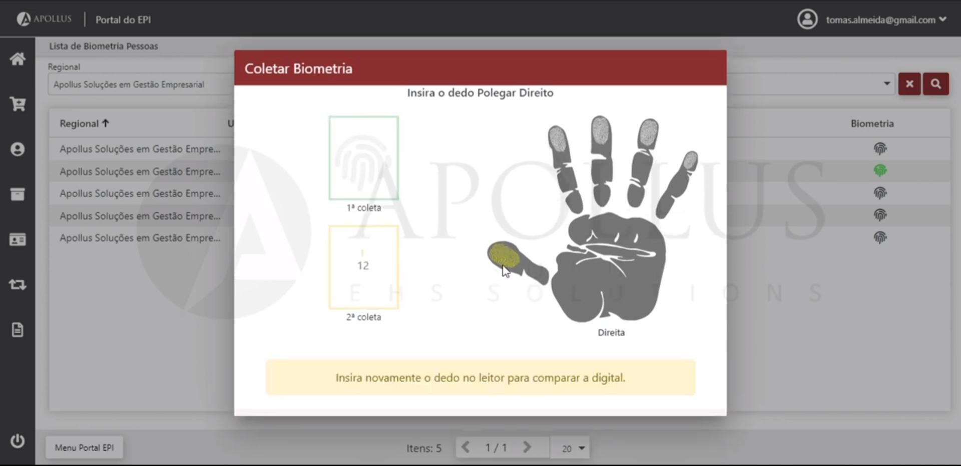 Portal de Entrega de EPI do Software Apollus